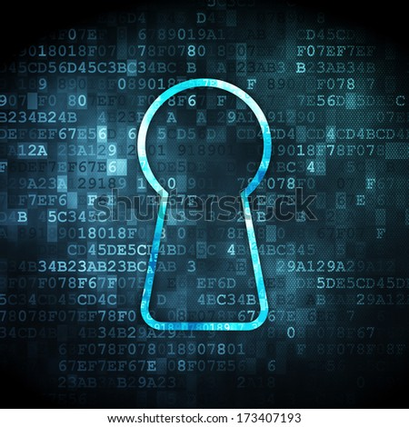 Information concept: pixelated Keyhole icon on digital background, 3d render - stock photo