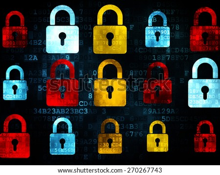 Information concept: Pixelated multicolor Closed Padlock icons on Digital background, 3d render - stock photo