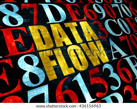 Information concept: Pixelated yellow text Data Flow on Digital wall background with Hexadecimal Code - stock photo