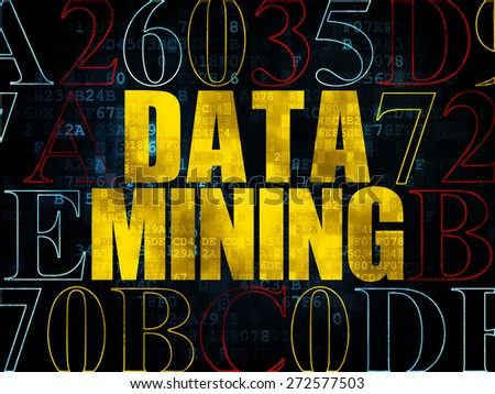 Information concept: Pixelated yellow text Data Mining on Digital wall background with Hexadecimal Code, 3d render - stock photo