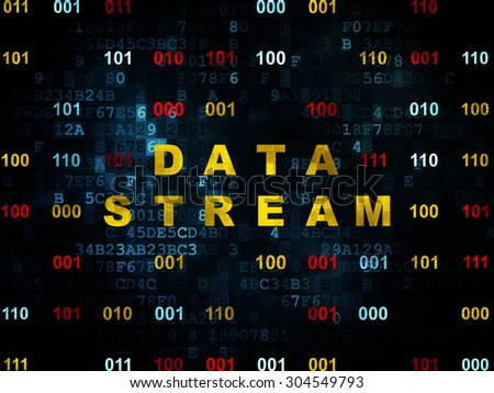 Information concept: Pixelated yellow text Data Stream on Digital wall background with Binary Code, 3d render - stock photo