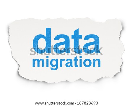 Information concept: torn paper with words Data Migration on Paper background, 3d render - stock photo