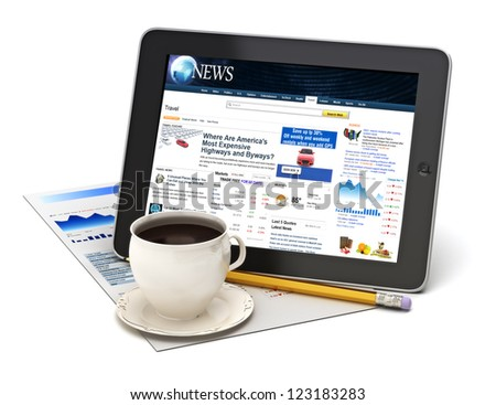 Information on tablet with coffee on a white background. - stock photo