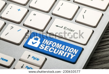 information security concept on keyboard - stock photo