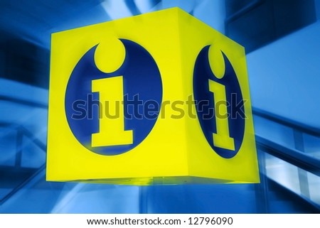 information signboard. yellow shield - stock photo