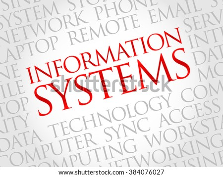 Information Systems word cloud concept - stock photo