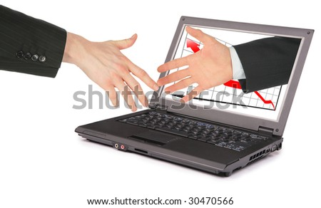 information technology computer partnership collage - stock photo