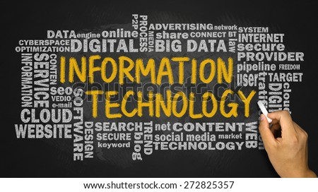 information technology concept with related word cloud handwritten on blackboard - stock photo