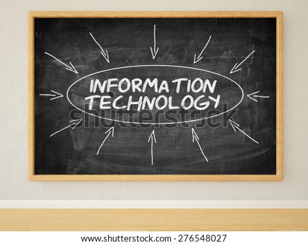 Information Technology - 3d render illustration of text on black chalkboard in a room. - stock photo