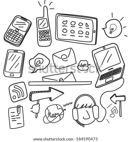 information technology doodle - stock photo