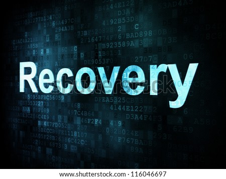 Information technology IT concept: pixelated words Recovery on digital screen, 3d render - stock photo