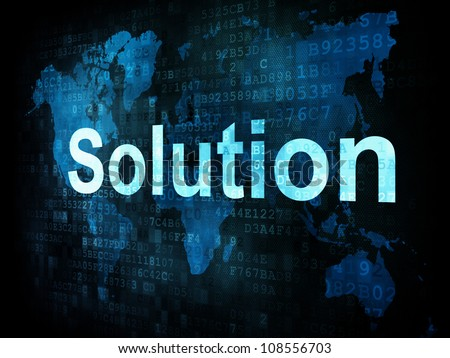 Information technology IT concept: pixelated words Solution on digital screen, 3d render - stock photo