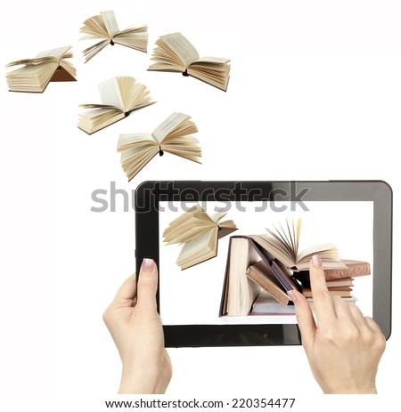 Information transfer. Books flying in tablet isolated on white - stock photo