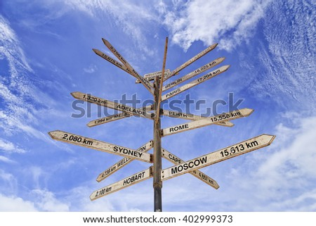 Informational sign post in Border Village of South and Western Australia with directions and distances to big cities around Australia and globe. - stock photo