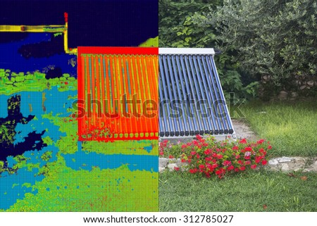 Infrared and real image of Vacuum solar water heating system - stock photo