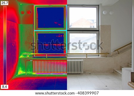 Infrared Thermal and real Image of Radiator Heater and a window on a building - stock photo