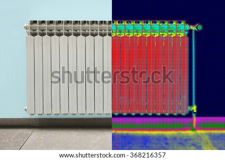Infrared Thermal and real Image of Radiator Heater in house - stock photo
