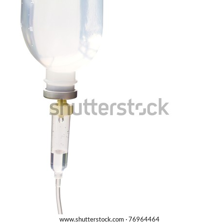 Infusion bottle with IV solution  on white background with copy space. - stock photo