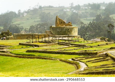INGAPIRCA RUINS, THE MOST IMPORTANT INCA CIVILIZATION CONSTRUCTIONS IN MODERN ECUADOR  - stock photo