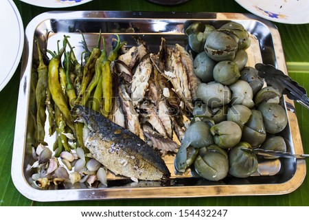 Ingredient before  Shrimp paste dip with Fish & Fresh Vegetables .Thai Cuisine style - stock photo