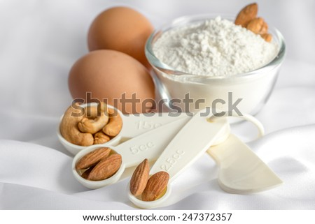 ingredient for make bakery on white fabric - stock photo