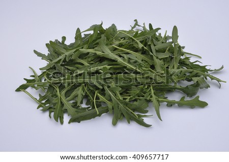 Ingredient green arugula salad for a healthy - stock photo