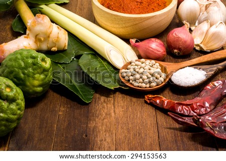 Ingredient of Thai Red curry paste. - stock photo