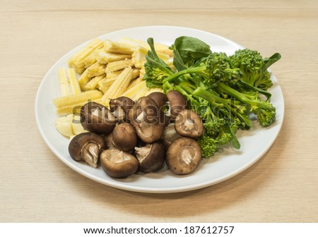 Ingredient  preparation vegetable for cooking in white plate. - stock photo