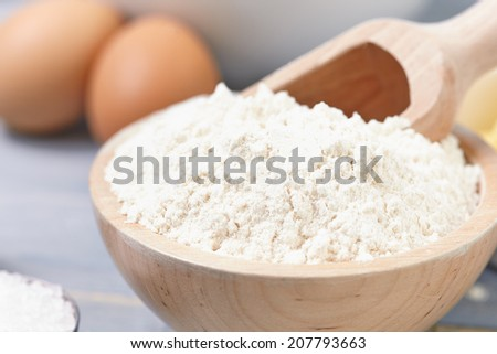 ingredients and tools to make a cake, flour, butter, sugar,eggs - stock photo