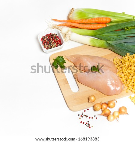 Ingredients for a Chicken Noodle Soup Ingredients - stock photo