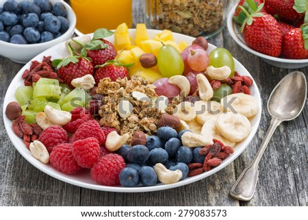 ingredients for a healthy breakfast - berries, fruit and muesli, close-up, horizontal - stock photo