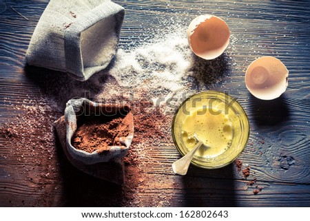 Ingredients for a simple dessert - stock photo