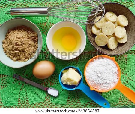 Ingredients for baking banana cake - stock photo