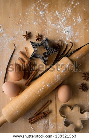 Ingredients for Baking Ginger Bread Cookies - stock photo