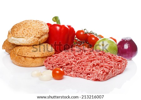 Ingredients for burger over white background - stock photo