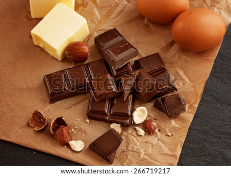 Ingredients for chocolate cake - stock photo