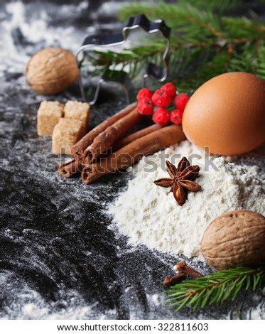 Ingredients for Christmas baking. Selective focus - stock photo