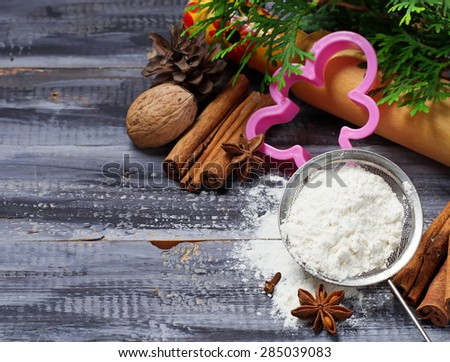 Ingredients for Christmas cookies - flour, anise, cinnamon. Selective focus - stock photo
