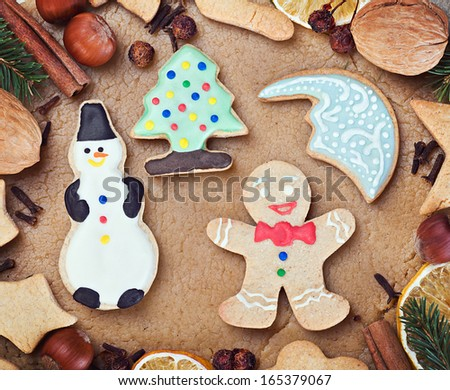 ingredients for cooking and baking Christmas cookies - stock photo