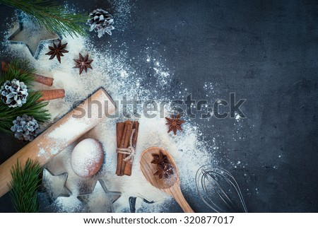 Ingredients for cooking Christmas baking. Top view, copy space. - stock photo