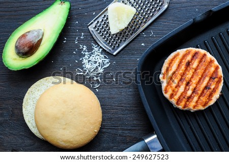 Ingredients for cooking fish burger at home - stock photo