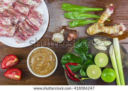 Ingredients for cooking hot and spicy soup with pork ribs./ Spicy Pork Ribs - stock photo