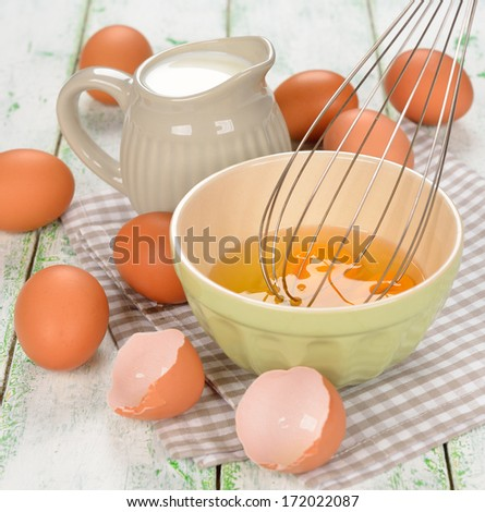 Ingredients for cooking omelets on a white background - stock photo