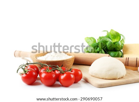 Ingredients for cooking pizza isolated on white - stock photo