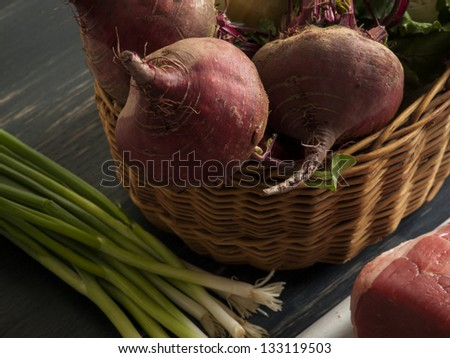 """Ingredients for cooking Russian and ukrainian red soup """"borsch"""". - stock photo"""