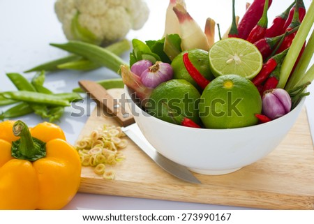 Ingredients For Cooking 'Tom Yum' Dish Chili Hot Spicy Soup Thai Popular Food - stock photo
