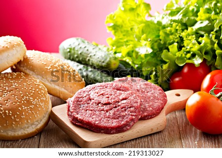Ingredients for hamburgers - stock photo