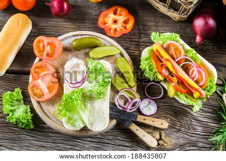 Ingredients for homemade hot dog - stock photo