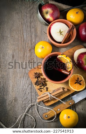 Ingredients for hot mulled wine - orange, anise and cinnamon - stock photo