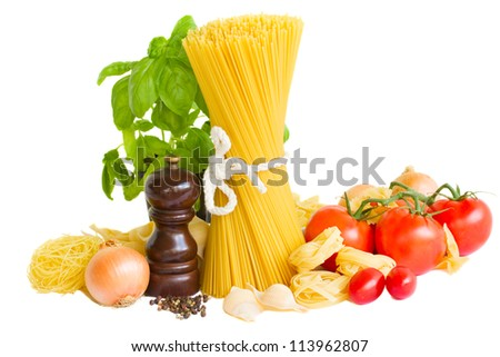 ingredients for italian pasta isolated on white - stock photo